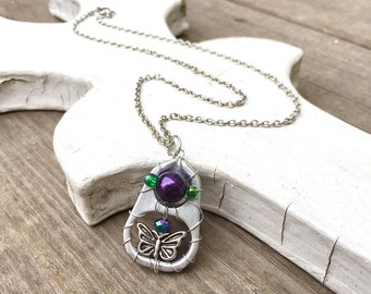 SODA TAB NECKLACE - purple, green, silver - soup pull necklace - upcycled/recycled jewelry - under 20.00