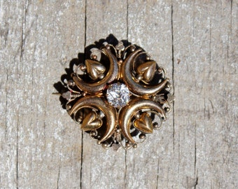 Victorian Symbolism Gold Fill Diamond Brooch