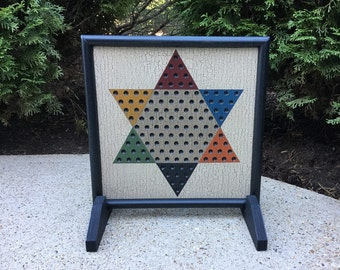 """13"""", Chinese Checkers, Game Board, Folk Art, Wood, Game Boards, Primitive, Wooden, Board Game"""