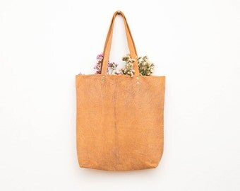 The Classic Leather Tote Bag in Tan Marble | Bohemian Textured Tan Leather | Minimal | Handmade