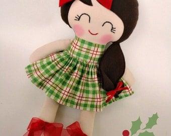 Handmade cloth doll,Christmas gift,Ragdoll,Cloth doll,Fabric doll...Eco-Friendly Doll... sweet ragdoll....READY TO SHIP.