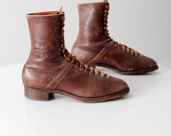 vintage Solidus leather boots, pre-1950 German lace up boots