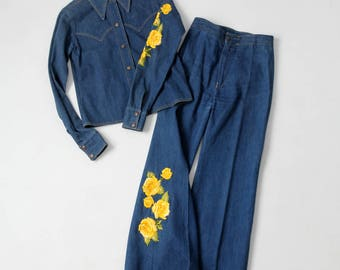 1970s Antonio Guiseppe denim suit, embroidered denim shirt jacket and jeans