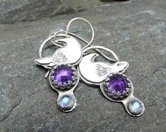 Amethyst and Moonstone Earrings, Raven Earrings, Sterling Silver, Dangle Earrings, Crow, Bird, Purple, Blue, Rose Cut Gemstone, Handmade
