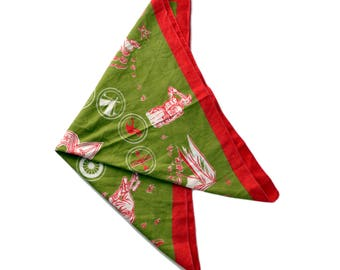 Vintage Boy Scouts Bandana 1950's Boy Scouts of America Handkerchief Army Green and Red