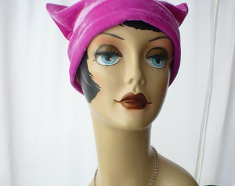 Hot Pink Velvet  Pussy Hat