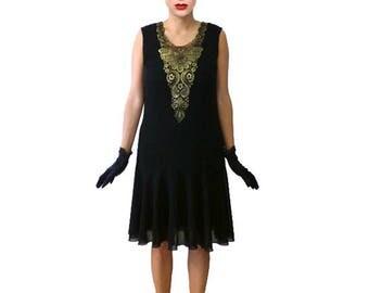 Retro Flapper Dress, Great Gatsby Dress, Flapper Costume, 1920s Dress, 20s Dress, Roaring 20s Dress, Downton Abbey Dress,Black Chiffon,Gold