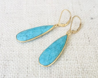Gold Turquoise Bezel Earrings