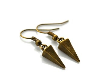 Antiqued Brass Pyramid Spikes . Earrings