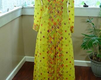 Vintage Yellow I. Magnin & Co. Indian Sari Dress and Pants - S