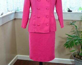 Vintage 50s 60s Pink Dress Suit Pencil Skirt and Jacket - M