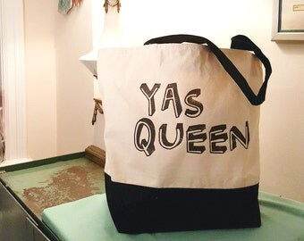 YAS QUEEN Large Canvas Tote Bag For Everyday and Weekend Away, Hand Printed by Women