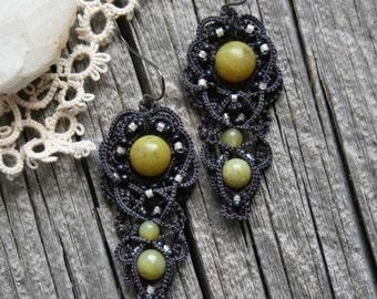 Artisan Tatting Dark Gray New Jade Beaded Dangle Style Fiber Earrings