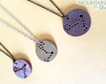 Pisces Constellation Necklace – Round Ceramic Pendant Necklace, Zodiac Jewelry, Constellation Jewelry