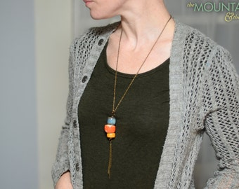 Classic Denim, Burnt Orange, Mellow Yellow Stack Necklace – Ceramic Bead Stack, Dangle, Modern Bolo Tie, Long Necklace, Vintage Colors