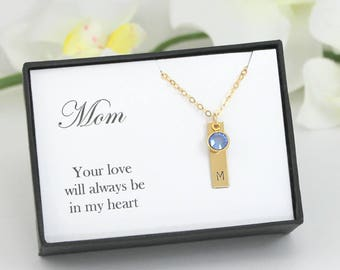Mother Necklace with Birthstones, Mothers Necklace Birthstone Jewelry for Mom Personalized Birthstone Necklace Gift For Mom Initial Necklace
