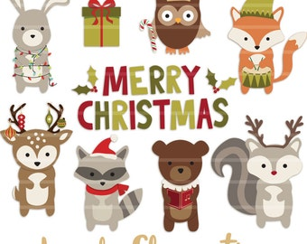 Woodland Christmas clip art images, woodland clipart,  woodland animals clip art- Instant Download