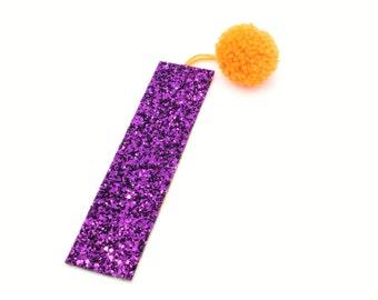 Orange Pom Pom Glitter Bookmark Page Marker