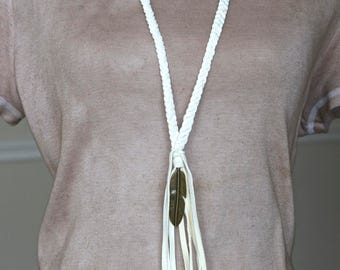 Braided White Deerskin / Brass Feather / Tassel Necklace