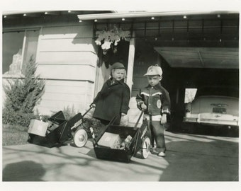 "Vintage Photo ""Santa's Little Helpers"" Children Snapshot Antique Photo Old Black & White Photograph Found Paper Ephemera Vernacular - 162"