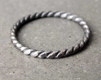 Skinny Twist Ring, Oxidized Satin Finish, Sterling Silver Stacking Ring - Made to Order