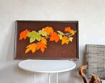 Vintage Crewel Embroidery Autumn Maple Leaves Wall Hanging Vertical or Horizontal Orange Gold Brown