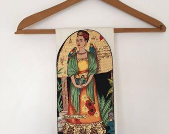 Frida Kahlo Tea Towel-Parrots-Monkey-Dish-Kitchen-Towels-Frieda-Artist-Polka-Dots-Art-Folklorico-Artist-Birds-Garden-Flowers-Day of the Dead