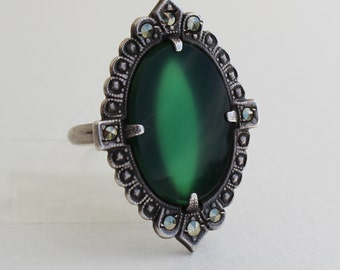 Vintage Art Deco Chrysoprase Sterling Silver and Marcasite Ring Size 4.25 1920s