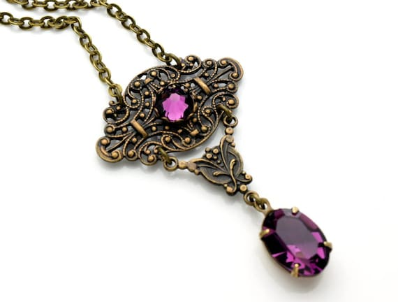 AMETHYST Victorian Necklace Victorian Steampunk Necklace Purple Swarovski Necklace Antique Brass Vintage Style Jewelry Renaissance Jewelry