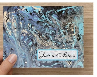 "Abstract Art Note Card, Fine Art Note Card, Folded 5.5"" x 4"" Blue Note Card, Just a Note Note Card, Art Card Set, Blue Stationery, Card,"