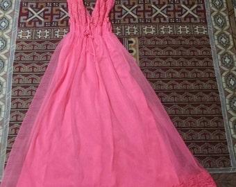 60s 70s Vintage Nightgown Bright Pink Nightie Slip Dress Gown