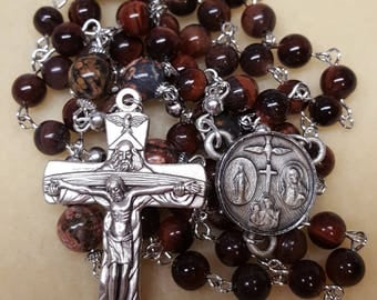 Red Tiger Eye and Jasper Rosary