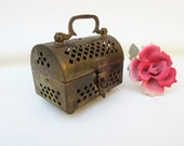 Vintage Cricket Cage, Brass Box, Mini Lunchbox, Incense Holder