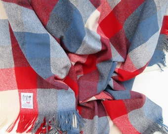 Vintage Stadium Blanket, Lap Throw, Faribo Blanket, Wool Fabric, Red White and Blue