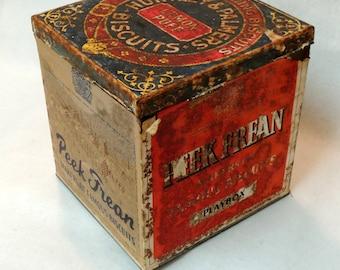 Large Antique English Peek Frean Biscuit Tin, General Store Mercantile Display