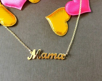 Mom, Mama 14k  Yellow Gold  Necklace, Mama charm, Mom pendant, Mama necklace, gold Mama pendant