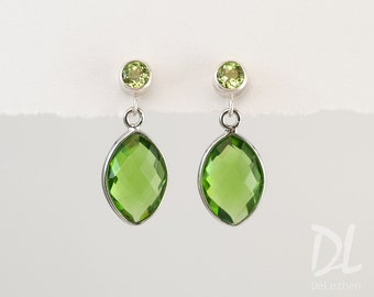 Peridot Earrings - August Birthstone Earrings - Silver Peridot Earrings - Small Drop Earrings - Post Earrings - Green Earrings