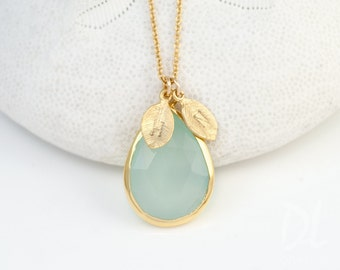 Aqua Blue Chalcedony Necklace - Personalized Jewelry For Mom - Birthstone Necklace - Gold Necklace - Personalized Jewelry