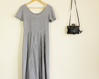 Vintage 90s Navy and White Button Back Maxi Dress Grunge Festival