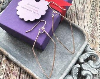 Mixed Metal Earrings, Rose Gold Earrings, Abstract Earrings, Edgy Earrings, Geometric Jewelry, Two Tone Earrings, Modern Jewelry