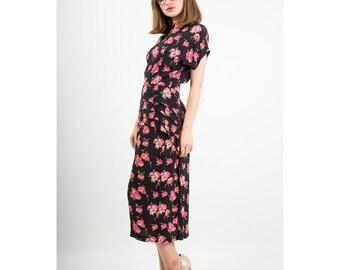 Vintage dark floral dress / Rose print / 1980s does 1940s peplum dress S M
