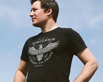 Wisconsin Forward. Midwest 'Til Death Eagle. Vintage Unisex T-Shirt. Slim Fit Solid-Black Tee. Shirt for Men Women.