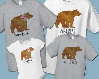 Father's Day, Papa Bear Mama Bear Baby Bear, Create a Matching Set, Buy as Many as you Need, Mother's Day, Father Son Daughter Matching Tees