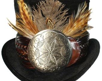 Tall Black Top Hat Silver Medallion Steampunk Gypsy Victorian Gentlemens Dapper Cosplay Mens