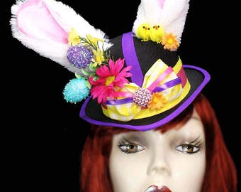 Bunny Rabbit Fascinator Top Hat Alice Mad Tea Party Easter Mini Victorian Steampunk