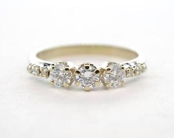 14k White Gold .50ctw Nine Stone SI1/G-H Diamond Band- Size 5.5