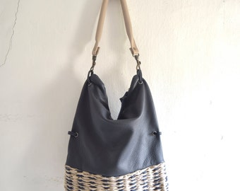 Navy Blue  Leather Hobo with Beige Navy Handweave - Slouchy - Foldover  - Ready to Ship
