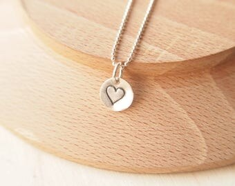 Tiny Silver Heart Pendant - Sterling Silver Heart Necklace with chain - Small heart on chain - Silver handstamped charm necklace with heart