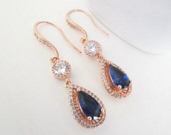 Bridal Earrings,Sapphire Earrings,Blue Bridal Earrings,Rose Gold Bridal Earrings,Bridesmaids Earrings,Rose Gold Bridal Jewelry,Sapphire