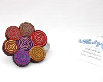 Wool felt brooch, spiral flower design multicolor